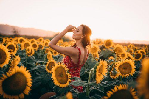 Jolie jeune femme dans un champ de tournesols